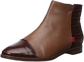 Marc Joseph New York Women's Genuine Leather Made in Brazil Ankle Zip Up Bootie Boot, Cognac nappa/Brown crocodile, 6.5 M US