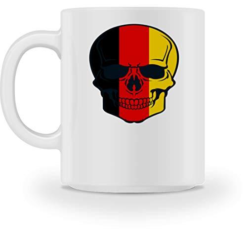 Belgian Skull - Totenkopf Belgien Farben - Schwarz Rot Gold - Black Red Gold - Tasse -M-Weiß
