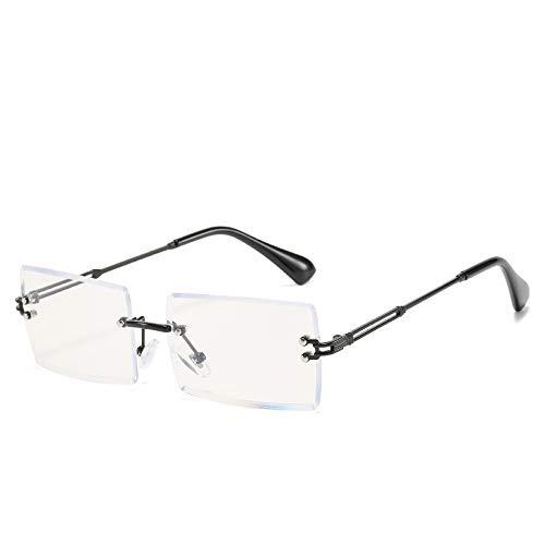 ZYHZP Gafas de Bloqueo de luz Azul, Lente Transparente Cuadrada de Moda sin Montura para Mujeres y Hombres, antiestrain (Frame Color : Negro)