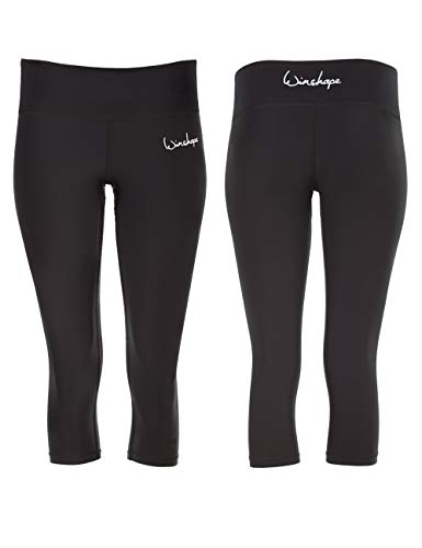 WINSHAPE Damen Functional Power Shape 3/4-Tights Leggings AEL202 mit Anti-Rutsch-Effekt, Slim Style Fitness Freizeit Sport Yoga Workout, schwarz, M