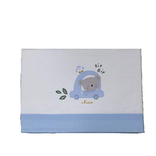 Chicco - Juego de 3 piezas Port Enfant de sábanas y funda de almohada para bebé, color blanco y azul Bianco Talla única