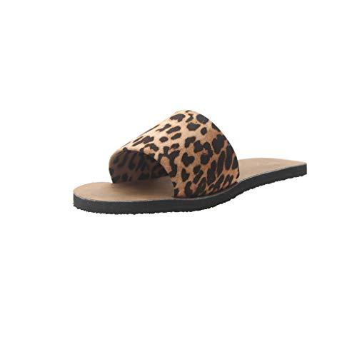 Sayla Sandalias para Mujer Verano 2019 Moda Sexy Casual Cuña Tacon Plataformas Planas Romanas Playa Casa Antideslizante Damas Leopardo Mullido Zapatilla Plana Chanclas Sandalia