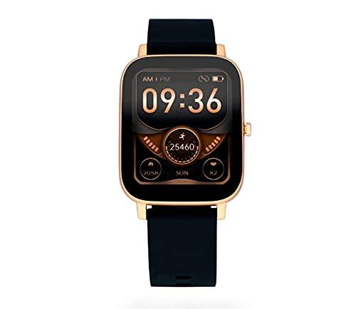 Reloj Smart de Radiant. Colección Palm Beach. Reloj con Correa de Silicona Negra y Caja en Oro Rosa. 35,6mm de Ancho. IP67. Referencia RAS10302.