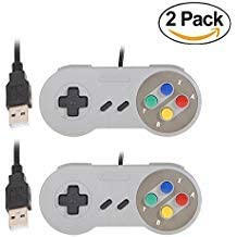 [2 Pack] Zhuoyoungs SNES Gamepad Joystick Classic SNES Super USB Retro Gaming Controller for PC (Grey)