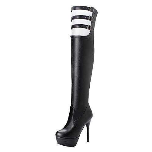 LUXMAX Damen Stiletto High Heels Overknee Stiefel Plateau Extrem Overknee Boots mit Schnallen Schuhe(Schwarz 39)