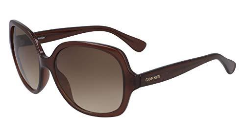 Calvin Klein Women's CK19538S Square Sunglasses, Milky Brown/Brown, 59 mm