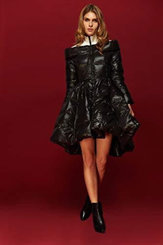 Jejhmy Hochwertige britische Art Frauen Ledermantel Winter Super Ente Daunenmantel Modedesigner Rock Daunenmantel schwarzen Mantel XXL schwarz