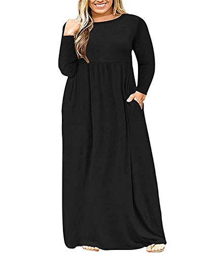 KARALIN Women's Plus Size Long Sleeve Loose Plain Casual Long Maxi Dresses with Pockets