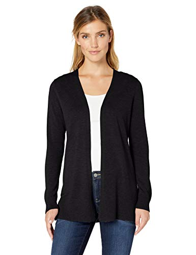 Amazon Essentials Women's Lightweight Open-Front Cardigan Sweater, Black, X-Large