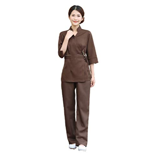Minkissy Peeling Top Hosen Frauen Kosmetikerin Arbeitskleidung Salon Spa Uniform Krankenhauskleidung Arbeitskleidung Anzug Kostüm für Dame Kaffee 1 Set / 2 Stück Größe XL