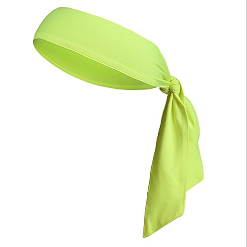 Justdolife Krawatte Stirnband einfarbig sweatproof schnell trocknende Kopf Krawatte Sport Stirnband Kopf Wickeln für Laufen Tennis Workout Fitness