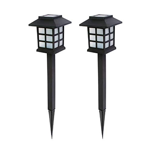 Baliza solar LED para senderos de jardín. Set de 2 piezas.