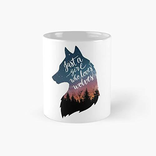 Just A Girl Who Loves Wolves Classic Taza de café divertidas, 11 oz