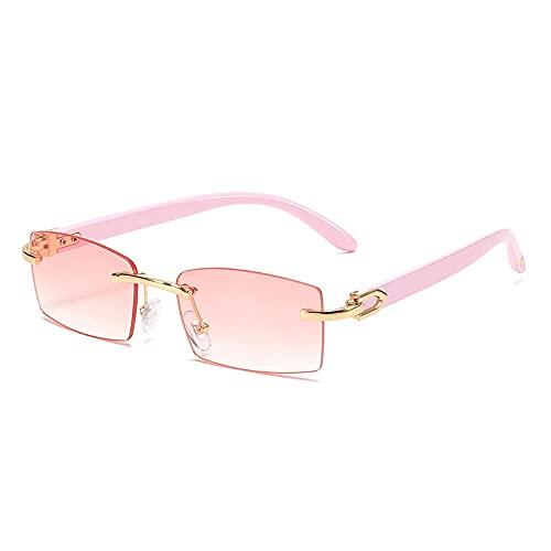 ShZyywrl Gafas De Sol Gafas De Sol Rectangulares Pequeñas De Moda para Mujer, Gafas De Sol con Gradiente De Océano Transparente Sin Montura Vintage, Gafas De S