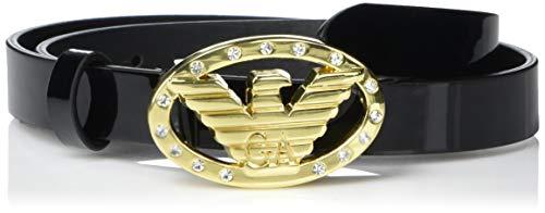 Emporio Armani Damen Leather Belt with Logo Buckle Detail Gürtel, Schwarz/Kristall, 90 cm