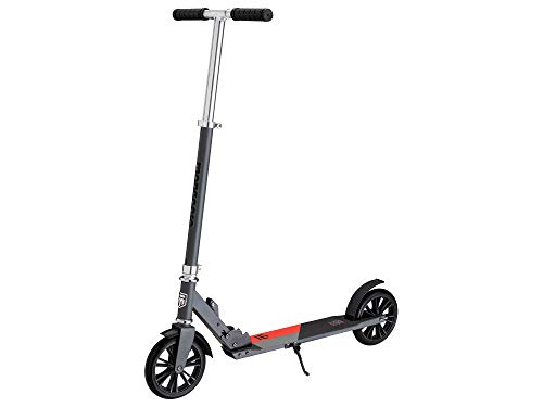 Mongoose Trace Youth/Adult Kick Scooter Folding and Non-Folding Design, Regular, Lighted, and Air Filled Wheels, Multiple Colors, Grey/Red , 180mm Wheels