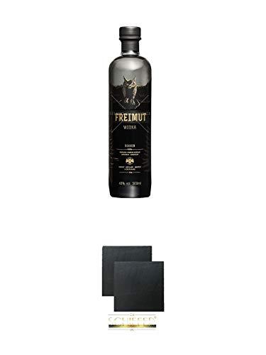 Freimut Bio Roggen Premium Wodka 0,5 Liter + Schiefer Glasuntersetzer eckig ca. 9,5 cm Ø 2 Stück