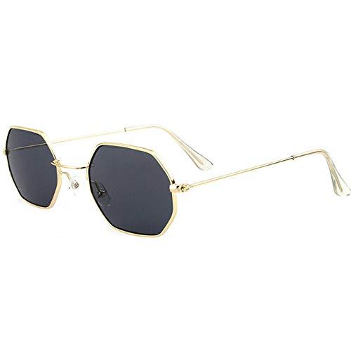 CCTYJ Sonnenbrillen Mode Frauen Sonnenbrillen Kleiner Rahmen Polygon Klare Linse Sonnenbrille Markendesigner Männer Sonnenbrille Sechseck Metallrahmen-Grau