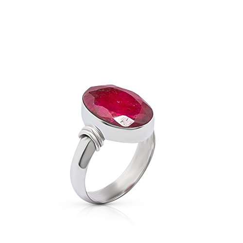 Koral Jewelry Created Ruby Oval Stone Ring 925 Sterling Silver Vintage Boho Chic US Size 7 8 9 (7)