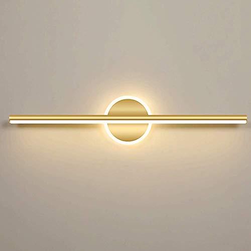 WEM Lámparas de pared, Lámparas delanteras con espejo LED, Luz de tocador de baño de 10 W, Luces de espejo de maquillaje para baño, Aplique de pared de baño de metal dorado, Blanco cálido