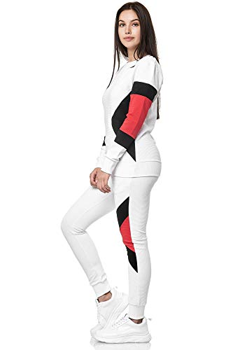 Damen Jogginganzug Frauen Trainingsanzug Sportanzug Streetwear 1215C (Weiss, XS)