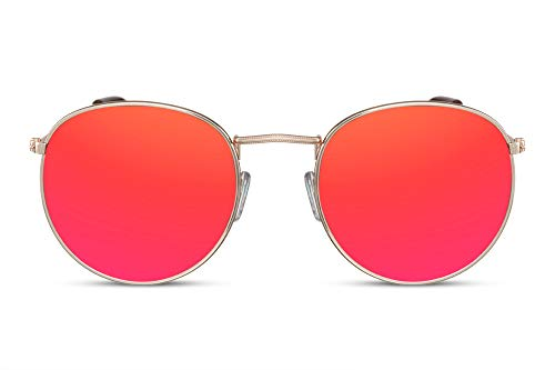 Cheapass Gafas de Sol Redondas con Espejos UV400 Rojo Dorado Hipster Metálicas Hombre Mujer