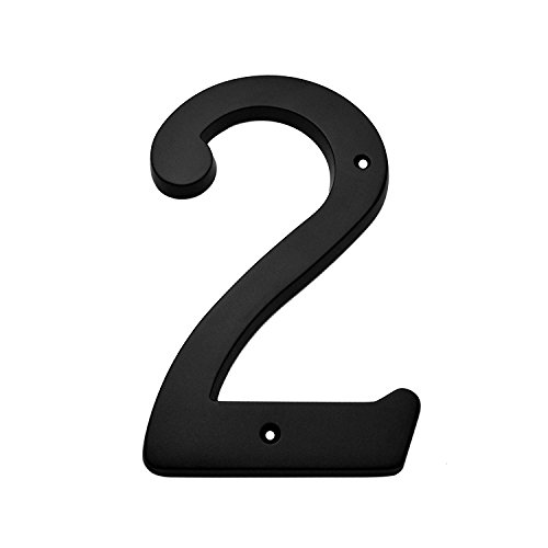 """Bolton Hardware Number """"2"""" 6 Inch Solid Brass Dark Oil Rubbed Bronze Finish House Number Raised 1/4"""""""