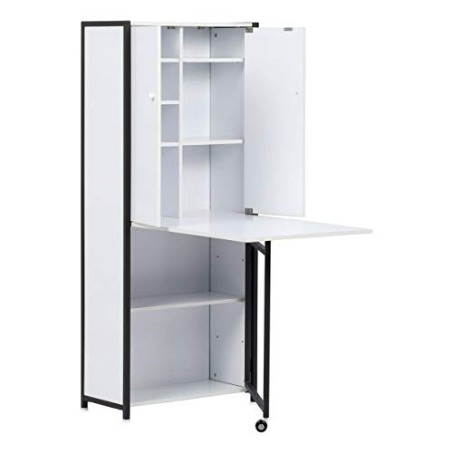 Sewing Online Craft Armoire with Fold Out Table Charcoal/White 13379