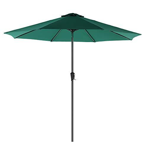 SONGMICS Parasol de jardín Ø 2,7 m, Sombrilla octogonal, Protección UPF50+, Mecanismo de inclinación y manivela, Balcón, Jardín, Piscina, Base no incluida, Verde Oscuro GPU027C01