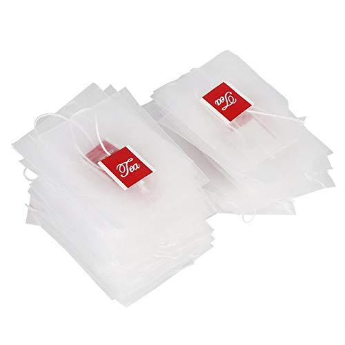 100 szt. torebek na herbatę, nylonowe puste worki filtrujące do herbaty, ze sznurkiem do ściągania, do trzymania liści herbaty, wszystkich ziół, przypraw lub bukietu garnisa (7 x 6 cm)