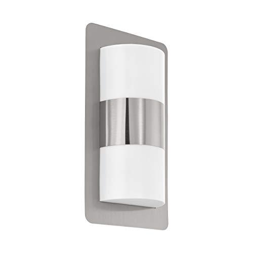 EGLO Außen-Wandlampe Cistierna, 2 flammige Außenleuchte, Wandleuchte aus Edelstahl, Kunststoff, Fassung: E27, IP44, silber, weiß