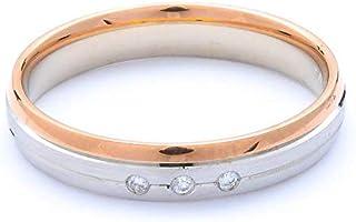 Breuning 18K White/Rose Gold Matte & Shiny Finish 0.023ct Round cut Diamond Wedding Ring [BR7127]