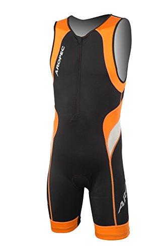 Aropec heren leeuw Lycra triatlon pak zwart oranje - chest zip op de chest zip met # 3 rits. Gewatteerd kruis voor comfort