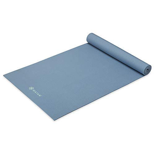 Gaiam Yoga Mat Premium Solid Color Non Slip Exercise & Fitness Mat for All Types of Yoga, Pilates & Floor Workouts, Blue Shadow, 5mm