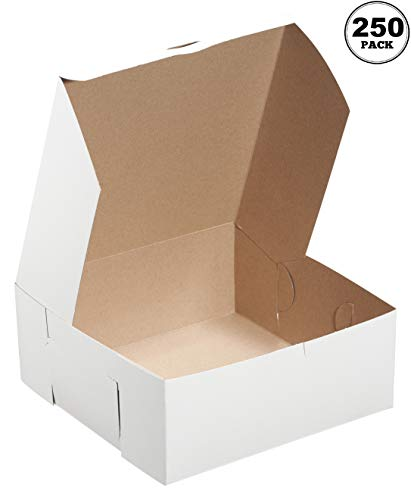 [250 Pack] White Bakery Pastry Boxes - 6 x 6 x 4 Inches - White Kraft Paperboard for Home or Retail - Eco Friendly Paper Cardboard Recyclable for Pastries, Cookies, Cakes, Pies, Gift Box, Baby Shower