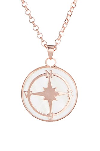 Córdoba Jewels | Gargantilla en Plata de Ley 925 bañada en Oro Rosa con nácar. Diseño Rosa de los Vientos Nácar Rose Gold