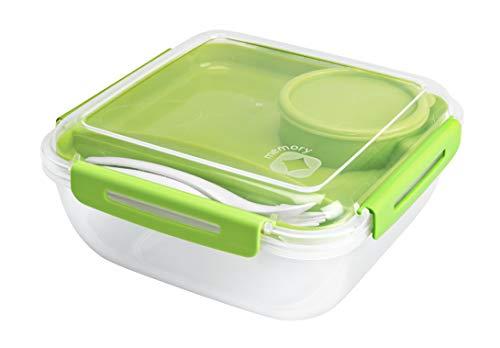 Rotho Memory B3 Lunchbox 1.7l mit Besteck und separatem Behälter, Kunststoff (PP) BPA-frei, transparent, 1,7l (19,5 x 19,5 x 9,1 cm)