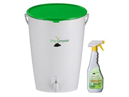 Urban Komposter 15 L, grün mit Deckel und Kompostspray