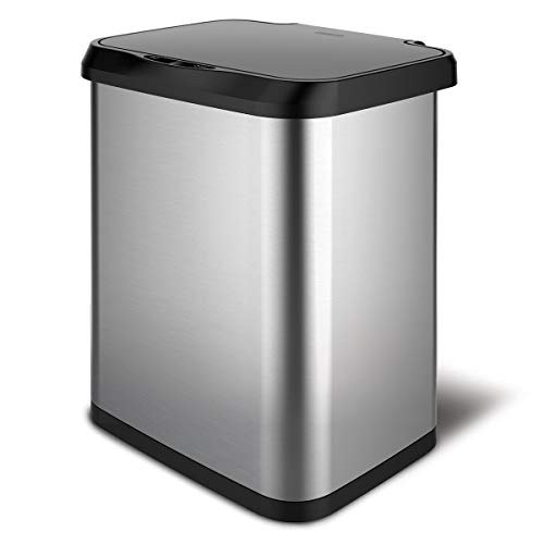Glad Stainless Steel Sensor Trash Can with Clorox Odor Protection   Touchless Metal Kitchen Garbage Bin with Soft Close Lid and Waste Bag Roll Holder, 13 Gallon