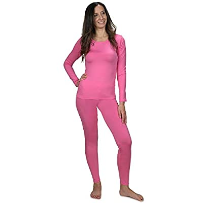 Women's Ultra Soft Thermal Underwear Long Johns Set with Fleece Lined (Pink Large)
