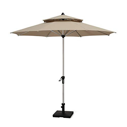 PURPLE LEAF 11 Feet Double Top Deluxe Sunbrella Round Patio Umbrella Offset Hanging Umbrella Cantilever Umbrella Outdoor Market Umbrella Garden Umbrella, Heather Beige