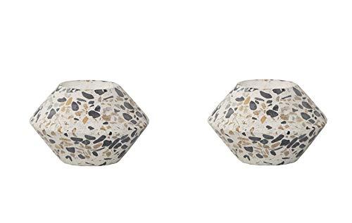 Flora Bunda 3.8 Inch Terrazzo Tea Light Holder Concrete Stoneware Candle Holder,3.8' Set of 2