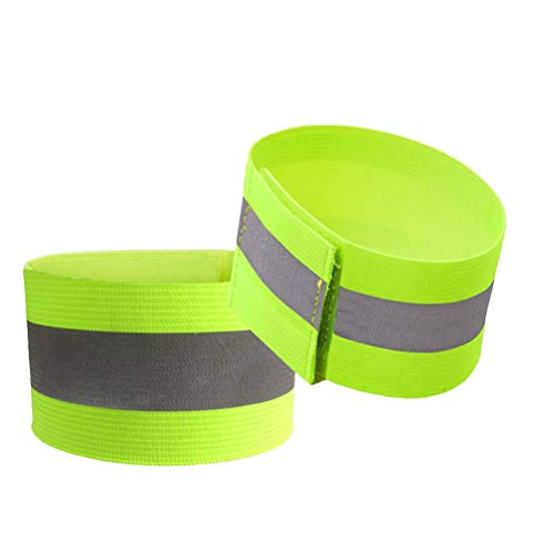 Abaodam 2 pulseras reflectantes al aire libre de seguridad con gancho y bucle para actividades nocturnas, correr, senderismo, uso de pies, suministros (verde fluorescente)