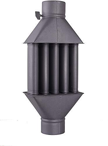 Scambiatore di calore per camino / scambiatore di aria calda, camino per gas di scarico, scambiatore di gas di scarico nero, diametro 130 mm, 5 tubi con smorzatore
