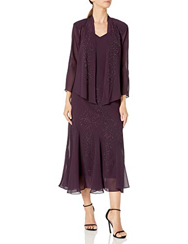 R&M Richards Women's Beaded Chiffon Jacket Dress, Eggplant, 14 (Apparel)