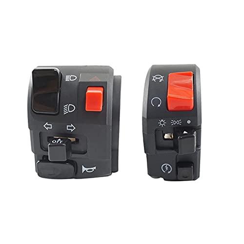 Huhu 7/8'22mm Motorcycle Interruptores Motorbike Botón Botón Botón de Giro Fog Fog Lámpara de luz Start Manillar Controlador eléctrico Interruptor (Color : Right Left)
