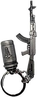 Pubg gun with smoke grind key chain/Key rings -SILVER