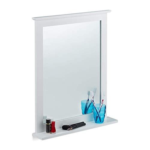 Relaxdays Miroir mural tablette Glace décorative rectangulaire, chambre, salle de bains, bambou, HLP 68x56x10 cm, blanc, verre, Taille Unique