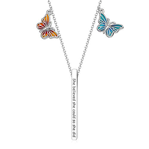 LONAGO Butterfly Necklace 925 Sterling Silver She Believed She Could So She Did Bar Pendant Necklace Jewelry for Women