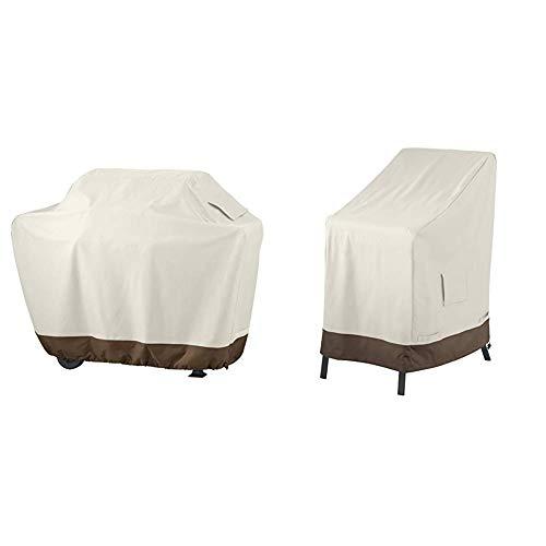 AmazonBasics Grillabdeckung, Gurte mit Click-Verschluss, Gr. XL & Abdeckung für aufeinandergestapelte Gartenstühle